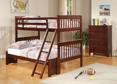 LATTICE STYLE WOOD TWIN OVER FULL STORAGE BUNK BED BEDROOM FURNITURE SET