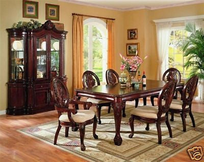 TRADITIONAL CHERRY DINING TABLE CHAIRS & CHINA CABINET DINING ROOM FURNITURE SET