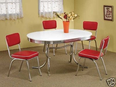 1950s Style Chrome Retro Dining Table Set Red Chairs Dining Room Fur Thom S Furniture Treasures