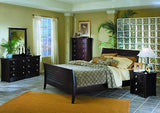 CONTEMPORARY QUEEN SLEIGH BED WITH WOOD RAILS