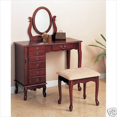 7-DRAWER CHERRY VANITY DRESSING TABLE & STOOL BEDROOM FURNITURE SET