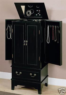 BLACK PAINTED JEWELRY ARMOIRE CHEST BOX