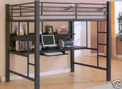 BLACK METAL FULL LOFT YOUTH BUNK BED & DESK WORKSTATION BEDROOM FURNITURE