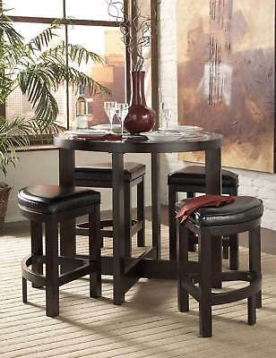 5 PC COMPACT COUNTER HEIGHT DINING TABLE & WEDGE STOOLS DINING ROOM FURNITURE