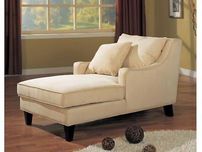 CREAM MICROFIBER CHAISE LOUNGE CHAIR WITH ARM REST FURNITURE
