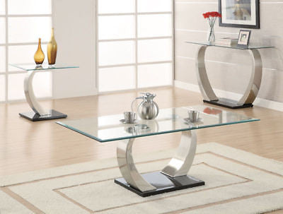 3 PC ULTRA MODERN GLASS COCKTAIL COFFEE END OCCASIONAL TABLE FURNITURE SET