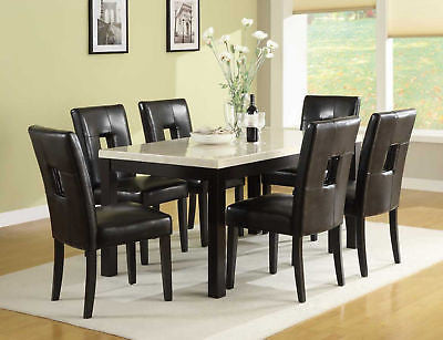 MARBLE LOOK DINING TABLE & CUT OUT BACK SIDE CHAIRS DINING ROOM FURNITURE SET