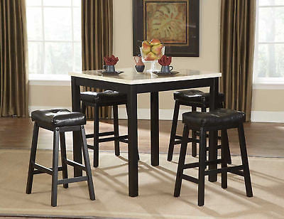 5 PC FAUX MARBLE COUNTER HEIGHT DINING TABLE & STOOLS DINING ROOM FURNITURE SET