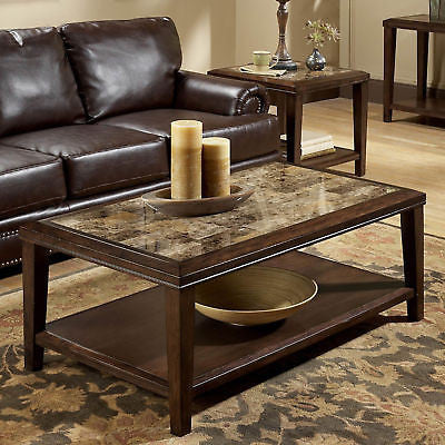 FAUX MARBLE WALNUT FINISH COFFEE COCKTAIL OCCASIONAL TABLE LIVING ROOM FURNITURE