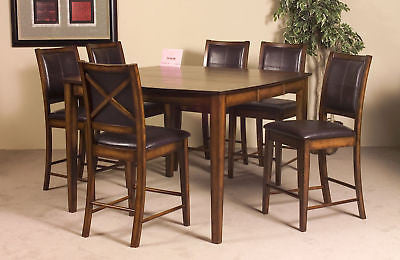 DARK OAK COUNTER HEIGHT DINING TABLE & 6 CHAIRS DINING ROOM FURNITURE SET