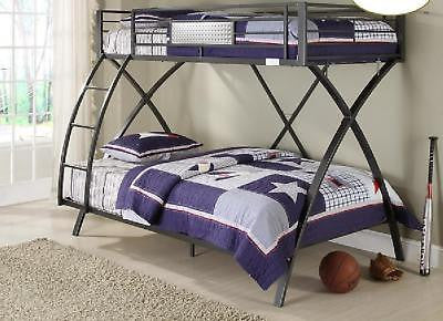 SUPER SLEEK STEEL TWIN OVER FULL YOUTH BUNK BED BEDROOM FURNITURE SET