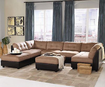 BROWN MODULAR MICROFIBER SOFA SECTIONAL CHAISE LIVING ROOM FURNITURE SET