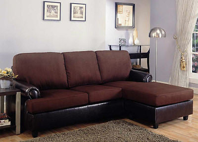CASUAL CLUB STYLE TWO TONEBROWN MICROFIBER SOFA CHAISE