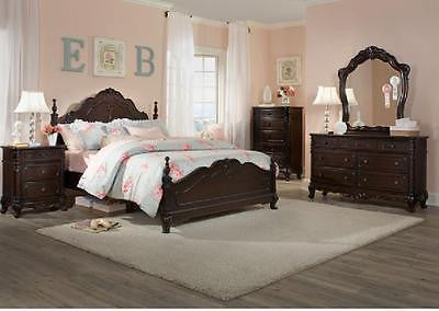 VICTORIAN STYLE QUEEN CHERRY FINISH BED BEDROOM FURNITURE