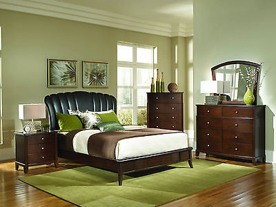 FABULOUS 5 PC FAUX LEATHER QUEEN BED NIGHTSTAND DRESSER & CHEST BEDROOM SET