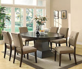 CASUAL CONTEMPORARY COFFEE FINISH DINING TABLE & 6 DINING CHAIRS FURNITURE SET