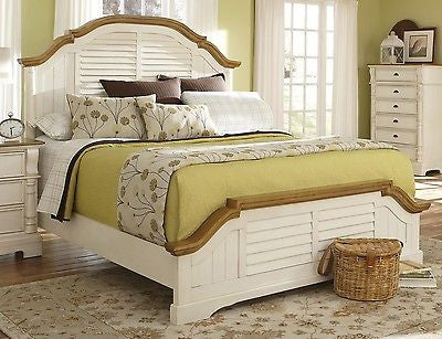 WONDERFUL 5 PC WHITE SHUTTER COUNTRY COTTAGE QUEEN BED BEDROOM FURNITURE SET
