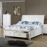 STYLISH SOFT WHITE TWIN FOOTBOARD STORAGE SLEIGH BED BEDROOM FURNITURE