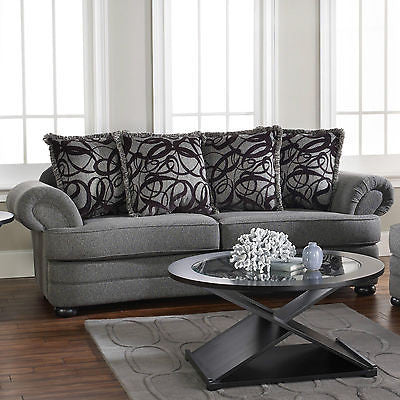 GRAPHITE PLUSH CONTEMPORARY SOFA & THROW PILLOWS LIVING ROOM FURNITURE