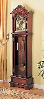 TRADITIONAL STYLE CHERRY FINISH CHIMING BATTERY POWERED GRANDFATHER CLOCK