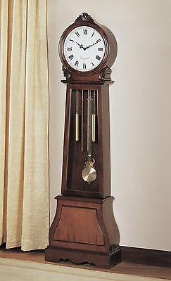 NEW CHIMING BEAUTIUL BROWN FINISH BATTERY POWERED GRANDFATHER CLOCK