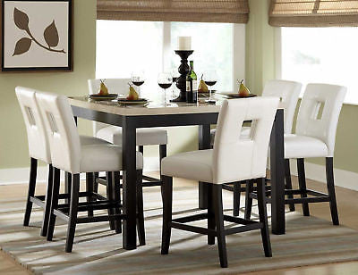 FAUX MARBLE COUNTER HEIGHT DINING TABLE CHAIRS DINING ROOM FURNITURE SET