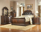 STUNNING 5 PC KING LEATHER SLEIGH BED NIGHTSTAND DRESSER & CHEST BEDROOM SET