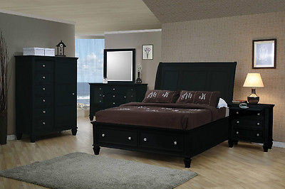 STYLISH BLACK QUEEN STORAGE SLEIGH BED BEDROOM FURNITURE