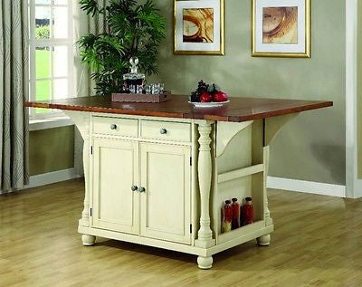 ELEGANT CREAM KITCHEN ISLAND CART DINING TABLE KITCHEN DININGROOM FURNITURE