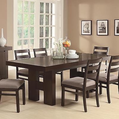 CASUAL CONTEMPORARY DARK WOOD DINING TABLE & CHAIRS DINING ROOM FURNITURE SET