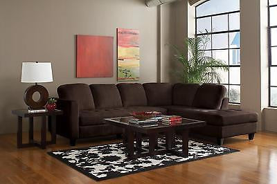PLUSH VELVET CHOCOLATE SOFA SECTIONAL LIVINGROOM FURNITURE SET