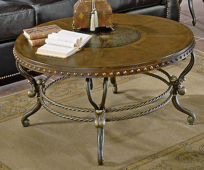 UNIQUE ROUND ETCHED TOP IRON & WOOD COCKTAIL COFFEE OCCASIONAL TABLE FURNITURE