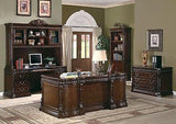 EXQUISITE ORNATE 3 PIECE EXECUTIVE OFFICE CREDENZA & HUTCH DESK FURNITURE SET