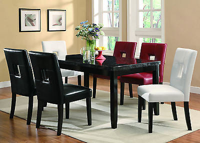 FAUX MARBLE DINING TABLE 6 RED WHITE OR BLACK CHAIRS DINING ROOM FURNITURE SET