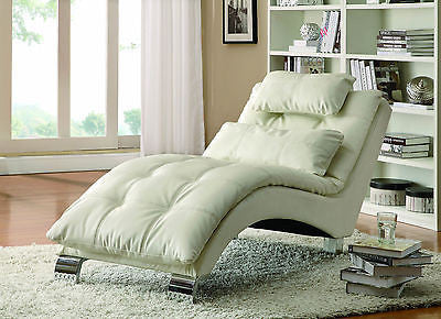 PILLOW TOP LEATHER LIKE WHITE CHAISE RECLINER RECLINING CHAIR & ACCENT PILLOW