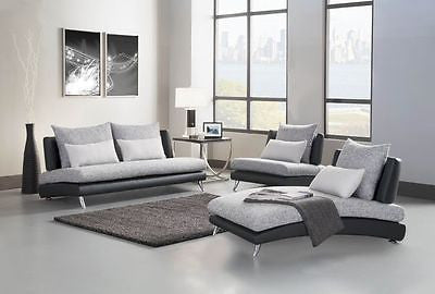 ULTRA MOD GREY & WHITE SOFA CHAISE & CHAIR SECTIONAL FURNITURE SET