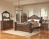 GRAND ORNATE PILLAR POST IRON & WOOD QUEEN BED BEDROOM FURNITURE