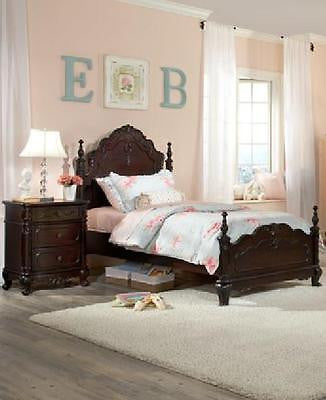 DREAMY CHERRY FINISH FULL YOUTH BED BEDROOM FURNITURE