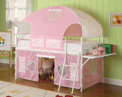 METAL PINK GIRL'S TWIN TENT STYLE LOFT BUNK BED BEDROOM FURNITURE SET