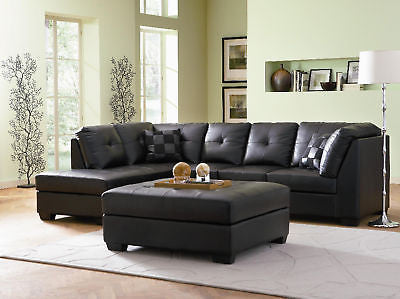 SLEEK BUTTON TUFTED BLACK LEATHER SOFA CHAISE SECTIONAL LIVING ROOM FURNITURE