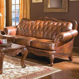 TUFTED TOP GRAIN TRI COLOR BROWN LEATHER SOFA & LOVE SEAT LIVING ROOM FURNITURE