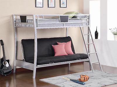 SLEEK METAL TWIN YOUTH LOFT BUNK BED & FUTON CHAIR BEDROOM FURNITURE SET