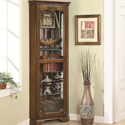 COMPACT TRADITIONAL CORNER CURIO CABINET FURNITURE