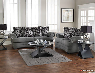 GRAPHITE PLUSH CONTEMPORARY SOFA & LOVE SEAT THROW PILLOWS FURNITURE SET