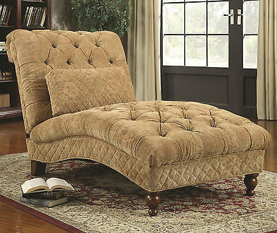 BEAUTIFUL BUTTON TUFTED BEIGE CHAISE RECLINER RECLINING CHAIR FURNITURE