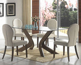 MODERN GLASS & WOOD DINING TABLE & FAUX LEATHER CHAIRS DINING ROOM FURNITURE SET