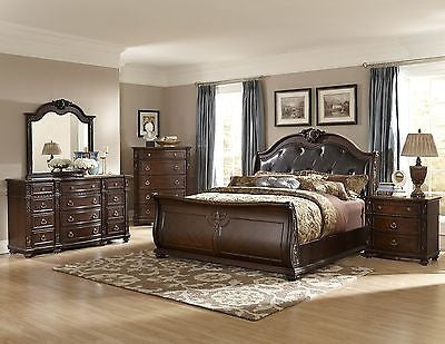LUXURIOUS 5 PC LEATHER & MARBLE KING SLEIGH BED N/S DRESSER CHEST FURNITURE SET