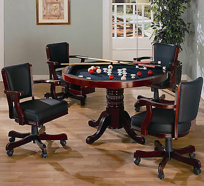 SOLID WOOD 3 IN 1 POKER BUMPER POOL DINING GAME TABLE U0026 4 ROLLING ARM CHAIRS