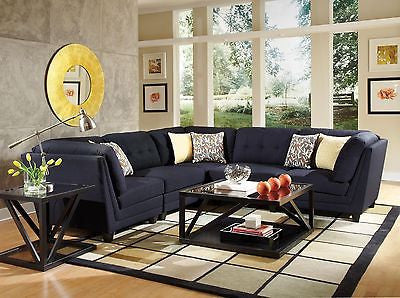 MIDNIGHT BLUE BLACK LINEN LIKE L-SHAPED SOFA SECTIONAL LIVING ROOM FURNITURE SET