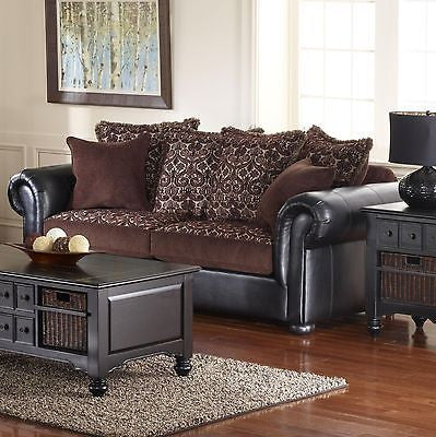 BEAUTIFUL BROWN FABRIC & LEATHER LIKE VINYL SOFA LIVING ROOM FURNITURE